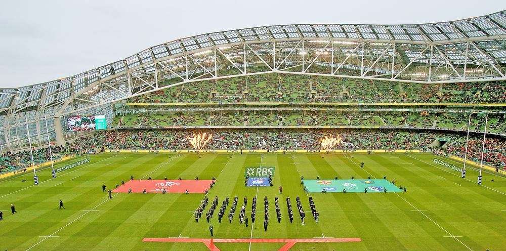 Ireland prepares to play Wales in the 2016 RBS Six Nations contest at the Populous-designed Aviva Stadium in Dublin / PHOTO: NEIL CARSON