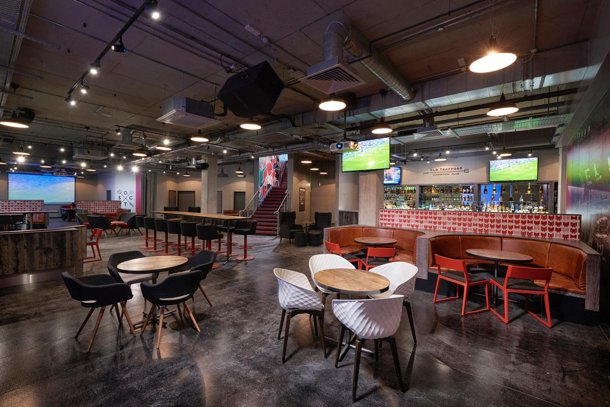 The stylish Old Trafford Supporters Club lounge