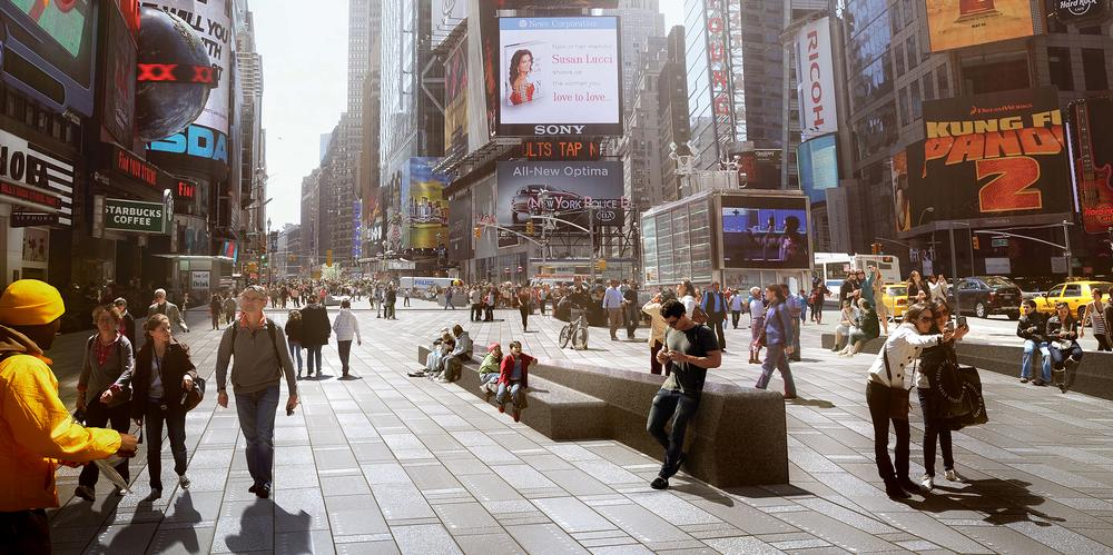 The NYC Department of Transport hired Snøhetta to permanently pedestrianise Times Square, following a hugely successful pilot project in 2009 / IMAGE: © SNØHETTA & MIR