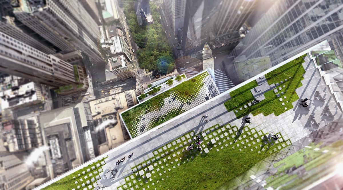 Outdoor terraces feature a variety of greenery and views of the surrounding cityscape / DBOX/BIG