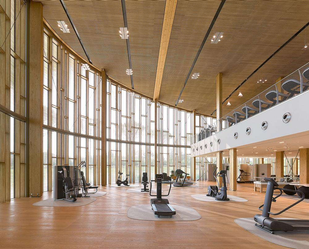 The Wellness Center features a showroom of equipment as well as a 5,000sq m gym for staff