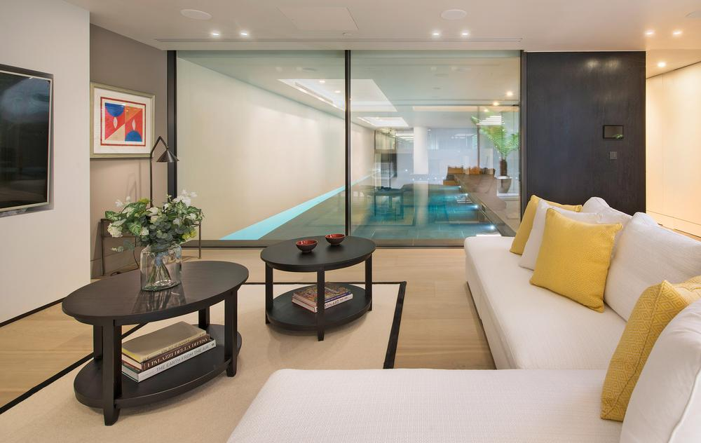 The pool and gym are integrated into the house, ensuring exercise is top of mind