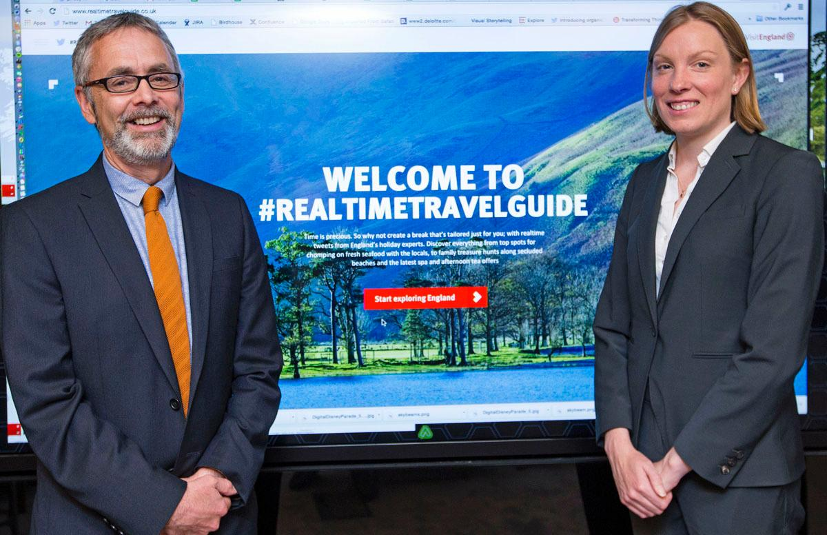 VisitEngland CEO James Berresford (left) launches the new hub with tourism minister Tracey Crouch