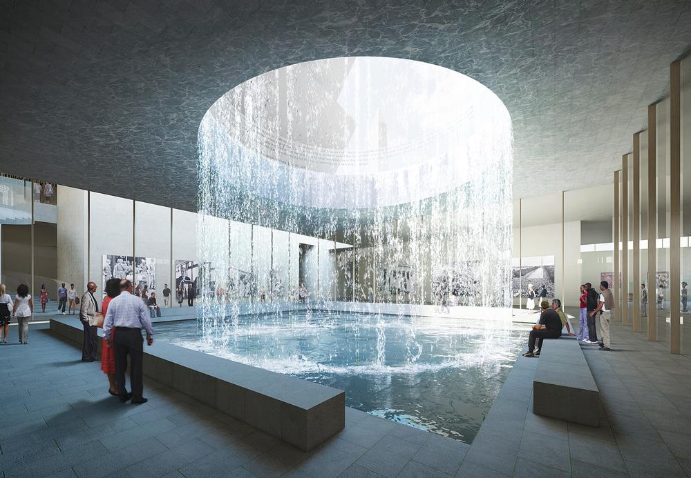 The museum's below ground memorial space features light diffused by water and offers a place for contemplation