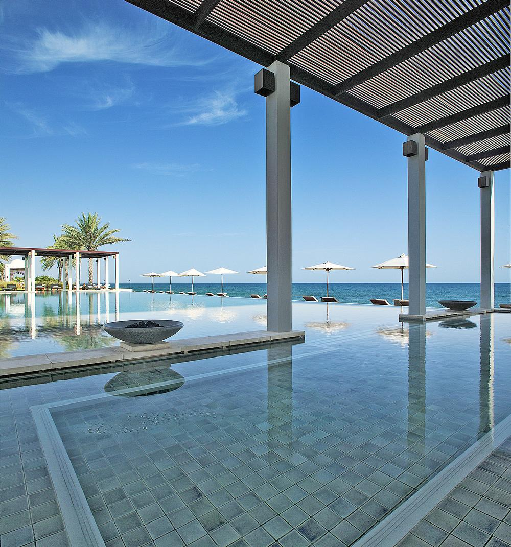 The Omani-style Chedi Muscat features two dramatic pools
