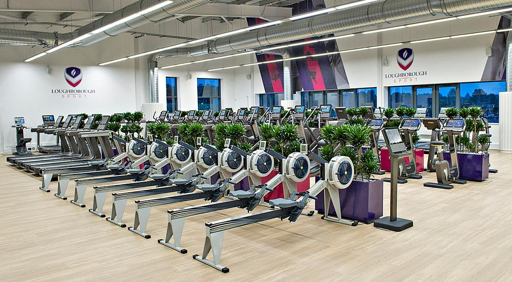 Loughborough University's Powerbase gym features numerous ergs