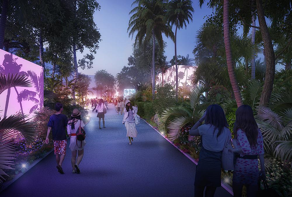 MVRDV have proposed flooding the China Town Mall in Tainan and turning it into a lush swimming lagoon / Tainan Axis images © APLUS CG