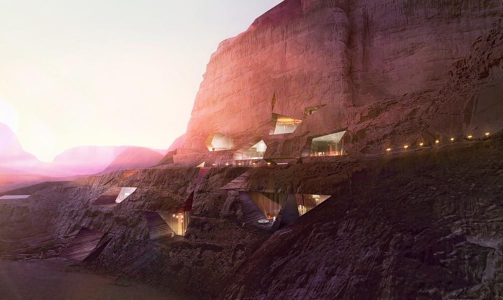 The Wadi Rum Desert Resort, Jordan, where lodge-like accommodations are carved out of the stone landscape / IMAGE: LUXIGON