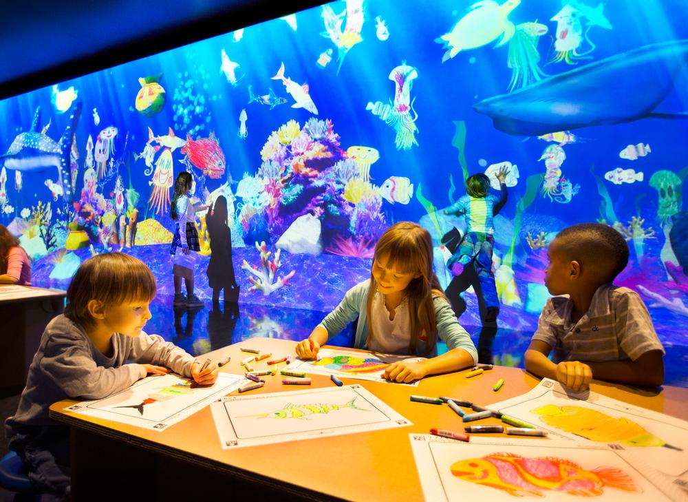 Sketch Aquarium invited children to colour a sea creature, which is scanned and projected on an interactive virtual aquarium