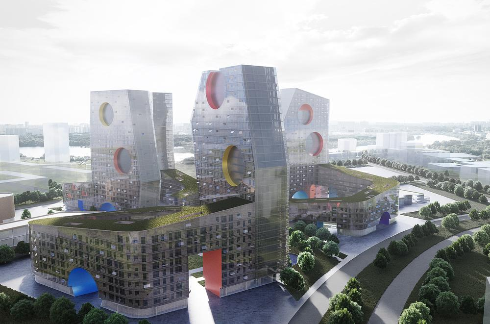 For the Tushino project, amenities will be housed in separate volumes called 'Parachute Hybrids' / IMAGE: Steven Holl Architects/Art-group Kamen