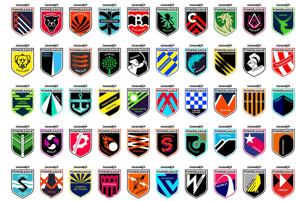 All 50 Powerleague clubs have their own branding and crest that is relevant to their community