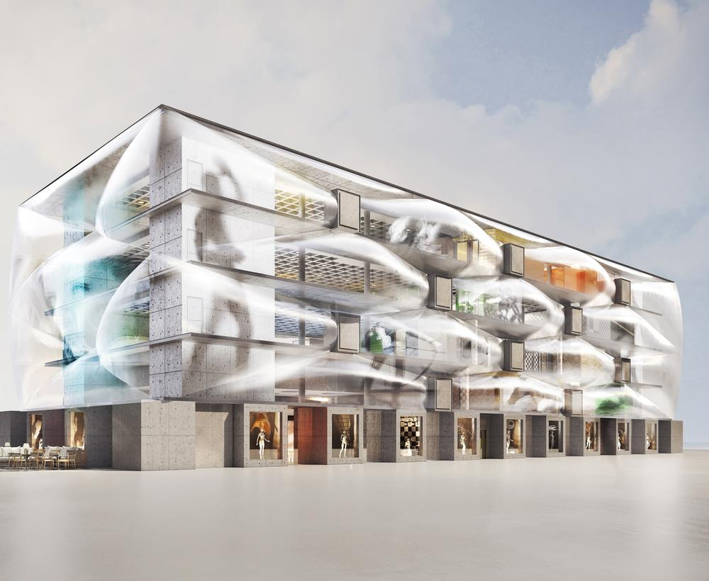 The health club was designed with a series of air-filled 'pillows' on the façade to give an impression of lightness