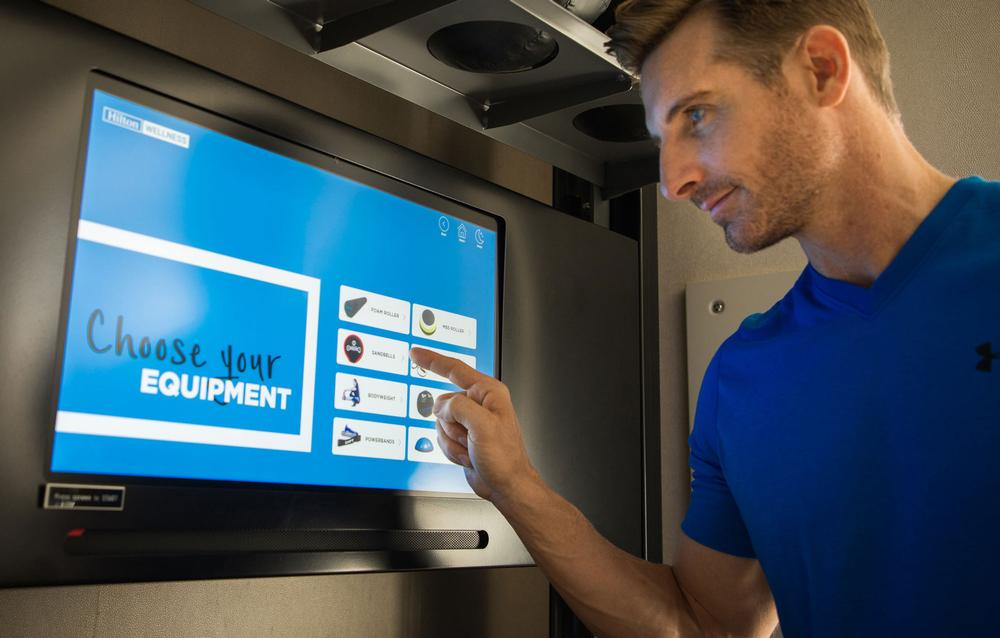 Guests can get tutorials and workout routines from the Fitness Kiosk