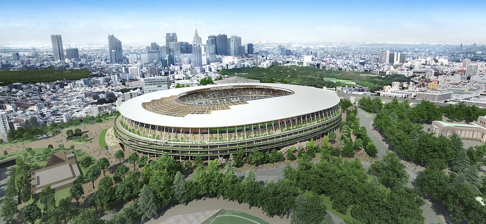 Kuma's wooden lattice Tokyo Olympic Stadium design was chosen by the Japanese government in December 2015 / TAISEI CORPORATION, AZUSA SEKKEI CO LTD