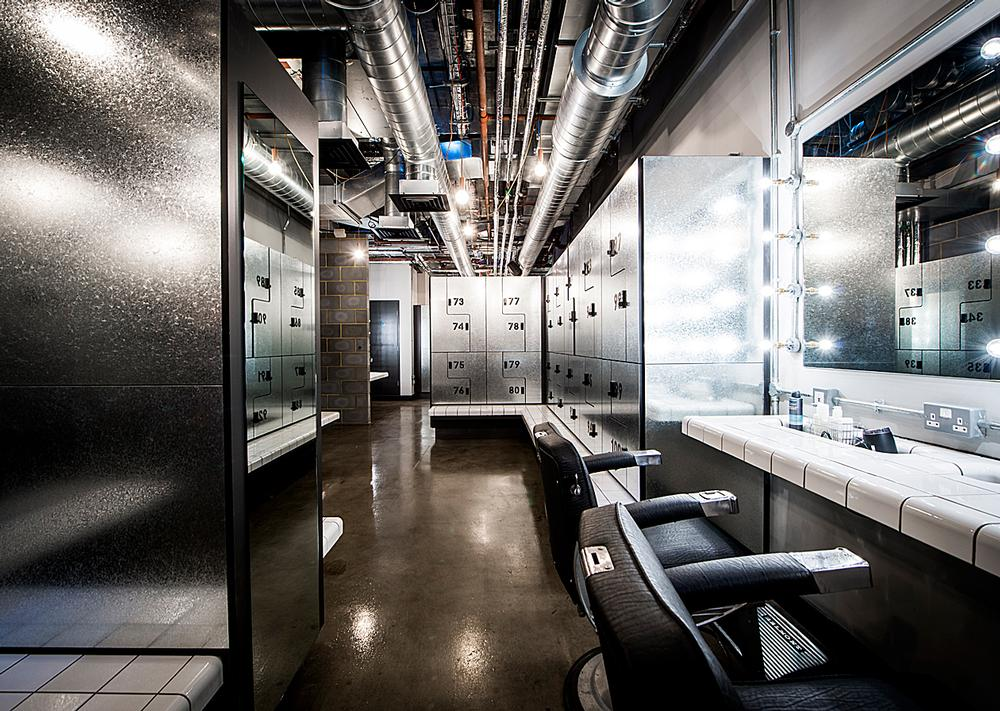 Industrial luxe: The changing rooms feature exposed copper piping as a design feature
