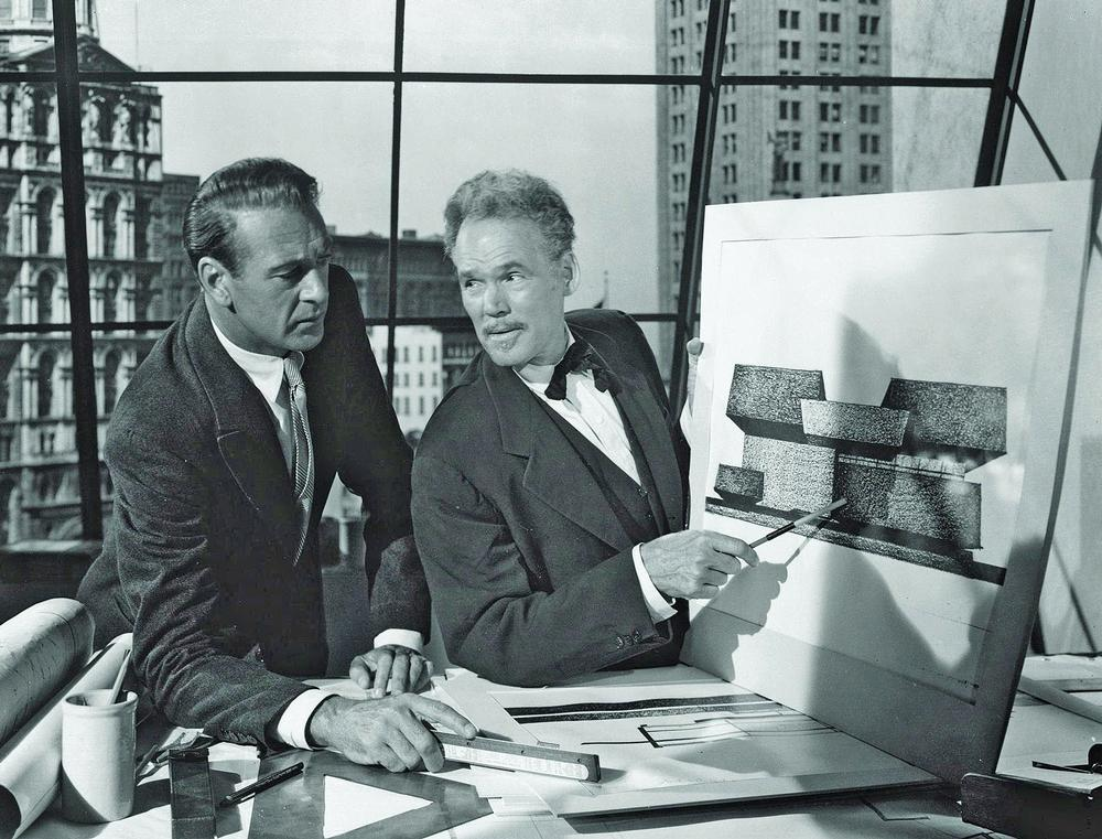 Artistic dilemmas vex Gary Cooper (left) in The Fountainhead (1949)