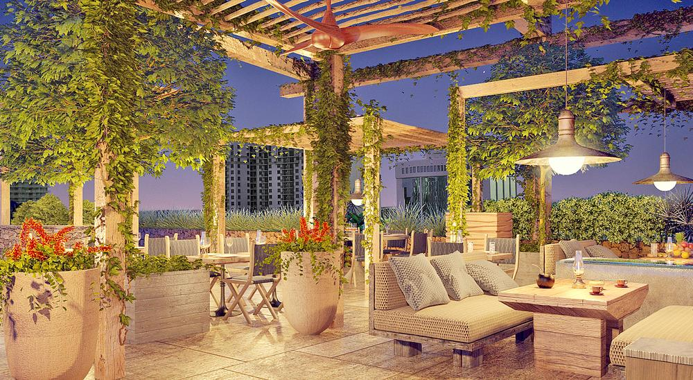 The terrace at EAST, Miami, which opened in May 2016