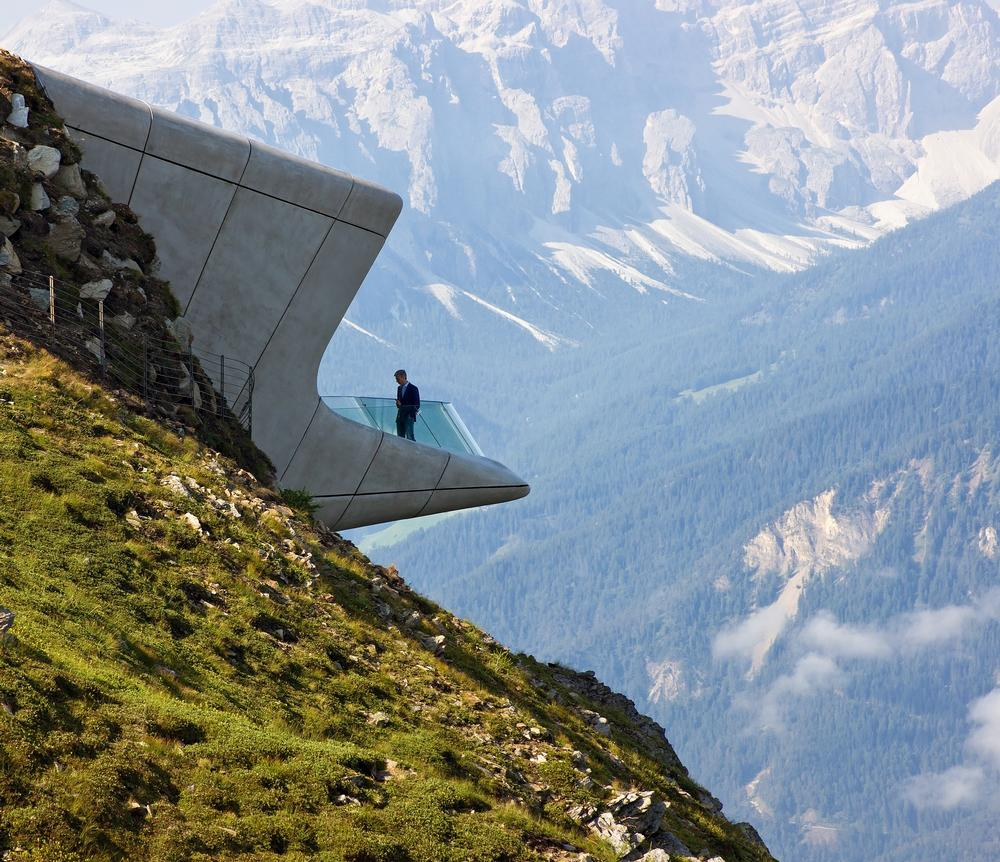 The museum is surrounded by the Alpine peaks of the Zillertal, Orier and the Dolomites / PHOTO: © Zaha Hadid
