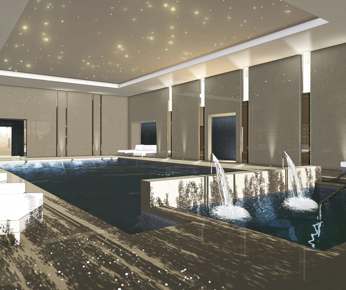 The spa will feature a 17m (56ft) indoor swimming pool with whirlpool, cannon neck massage jets and poolside loungers / ESPA