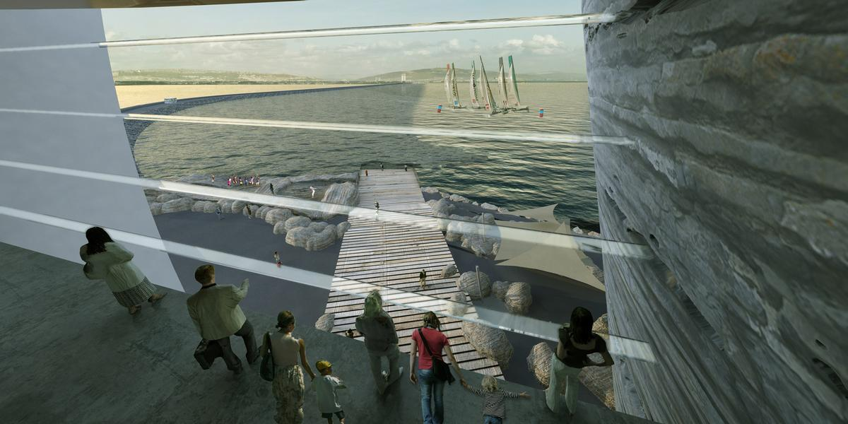 An artist's impression of the view from inside the visitor centre / Juice Architects