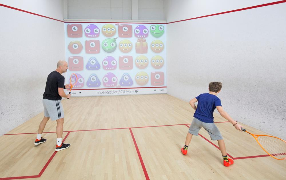 Interactive Squash helps players train by projecting images on the front wall