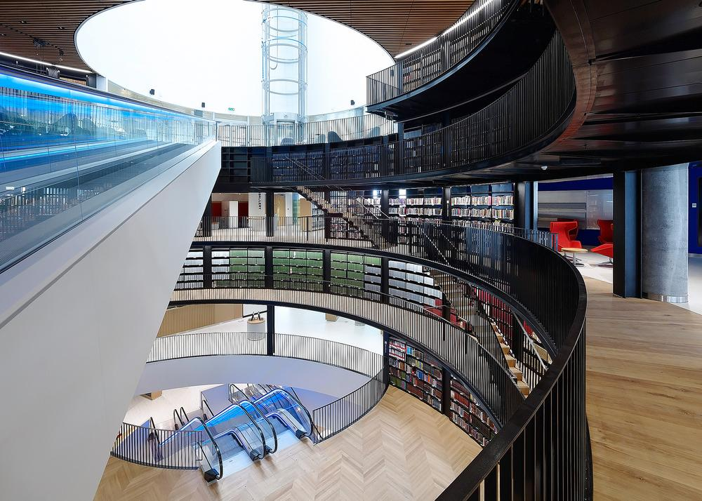 The Library of Birmingham features a series of interconnected rotundas that provide ventilation and flood the building with natural light