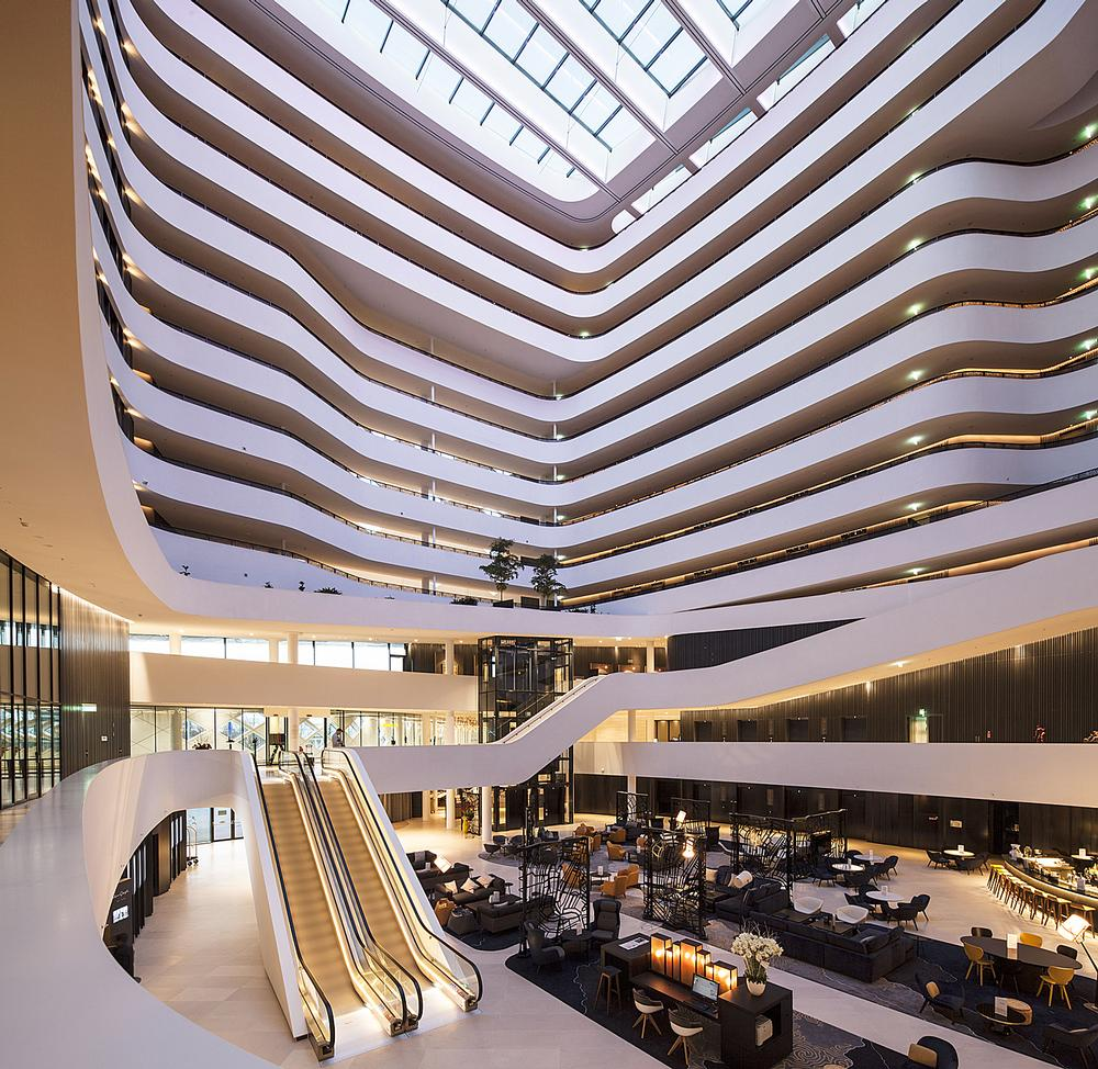 The 42m-high atrium at the new Hilton Amsterdam Airport Schiphol