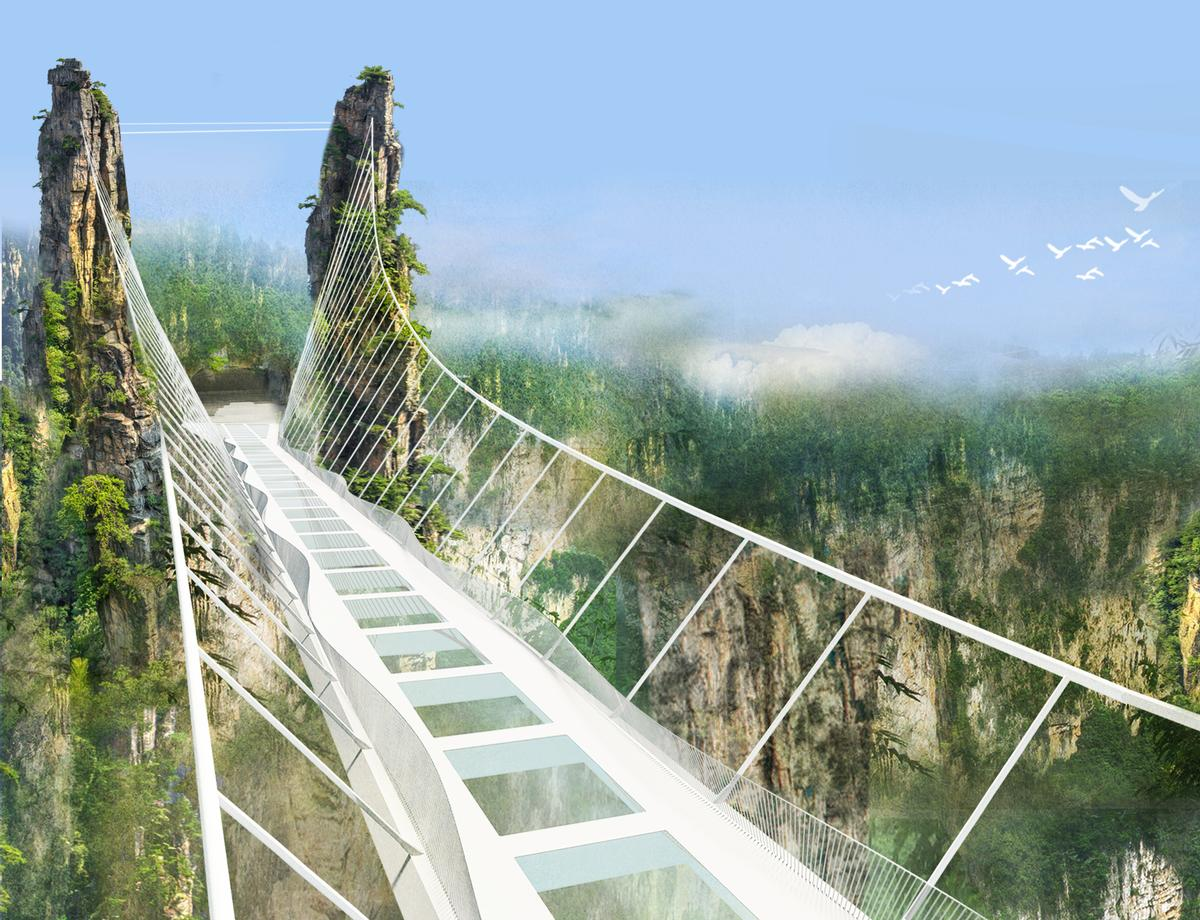 Plans for an even grander glass bridge are currently underway, with Israeli architecture firm Haim Dotan's 380-metre-long Zhangjiajie Grand Canyon Glass Bridge  /  Haim Dotan