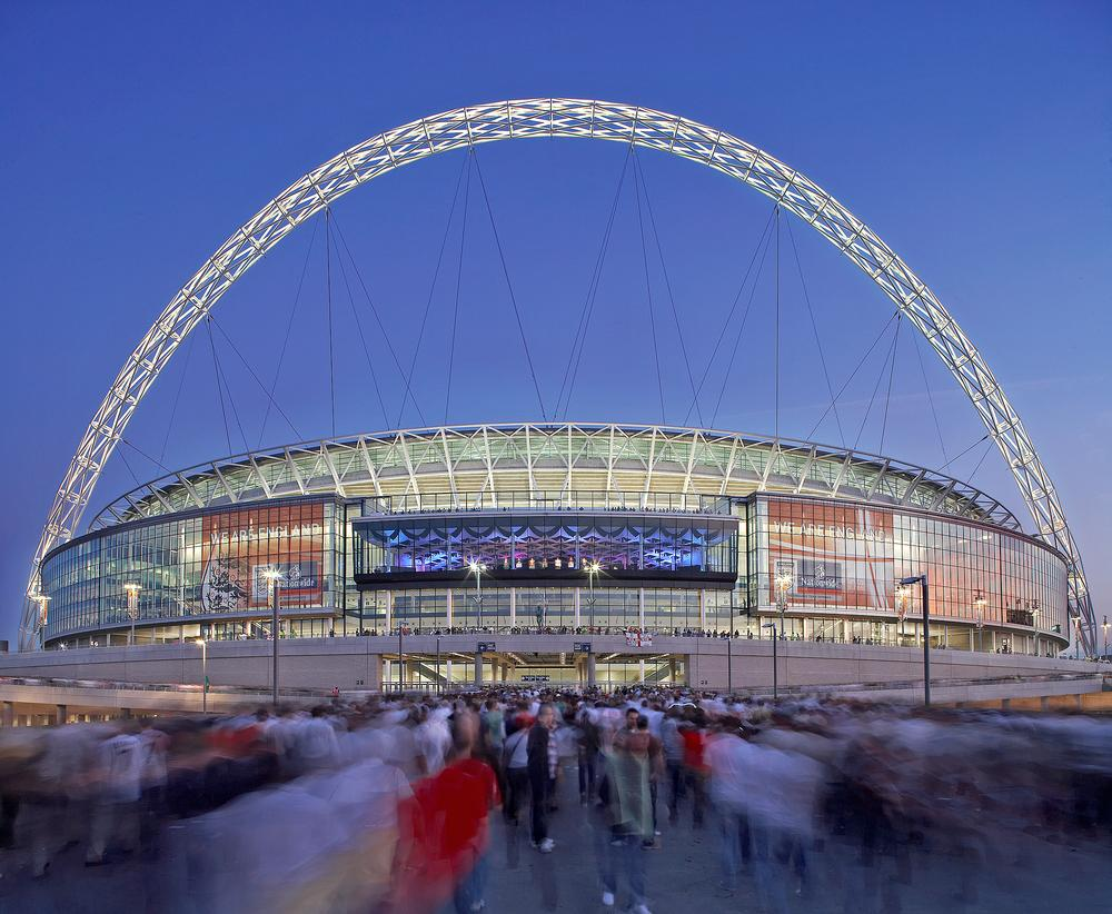 London's Wembley Stadium and its iconic arch design