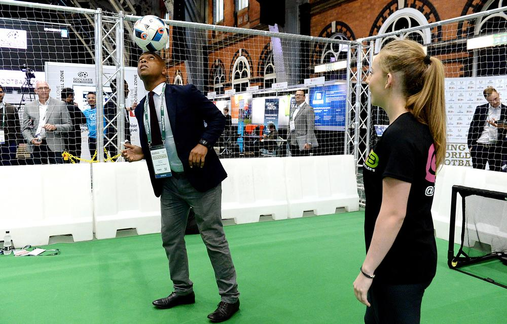 ?The exhibition hall was full of football-related products, services and innovation