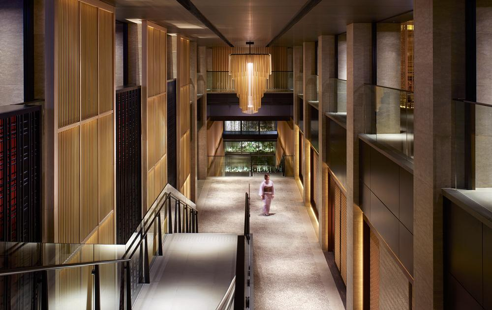 Contrast between light and dark spaces has been used at the Rtiz Carlton Kyoto