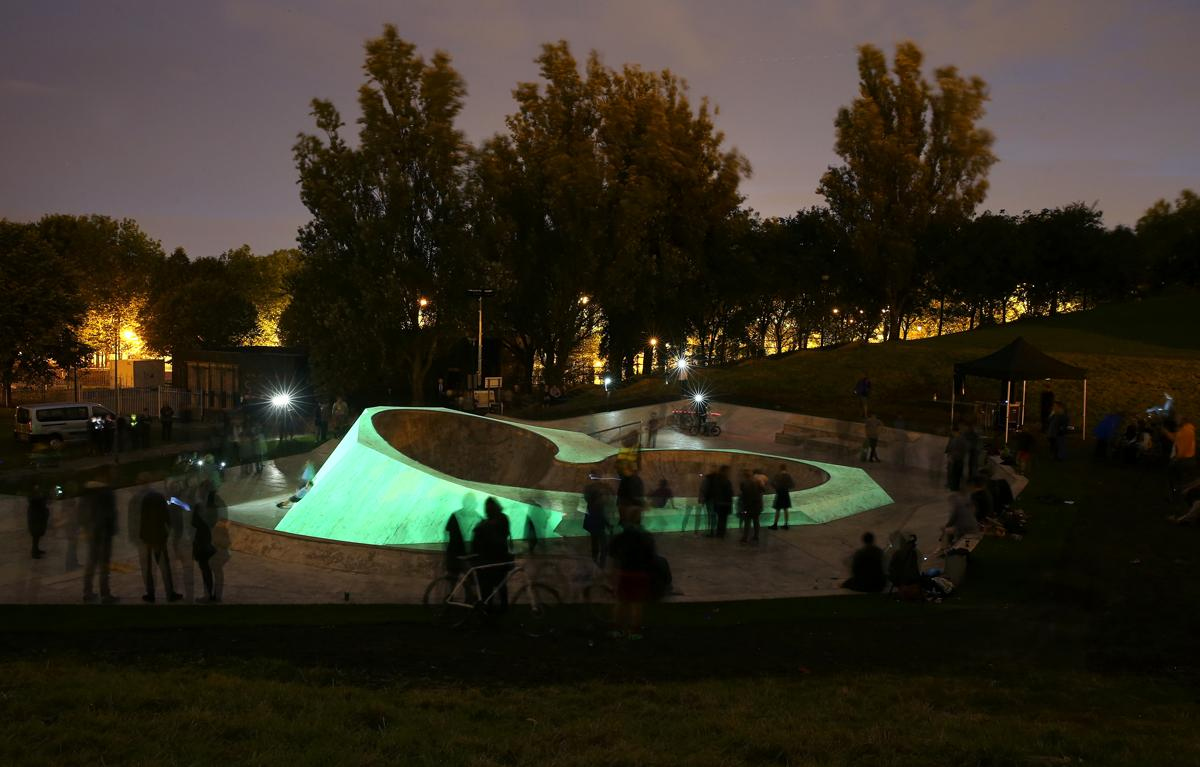 The glow-in-the-dark skatepark was commissioned as part of the Liverpool Biennial / Liverpool Biennial