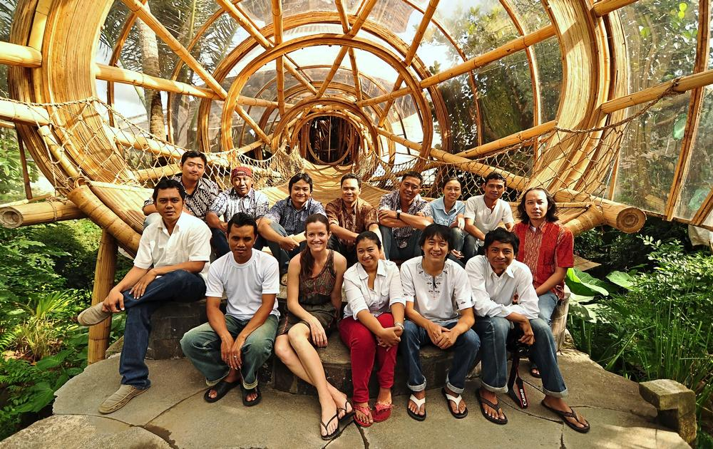 The Ibuku design team at Sharma Springs, a six level Balinese jungle retreat built by the practice almost entirely from bamboo. Founder Elora Hardy is third from left, front row