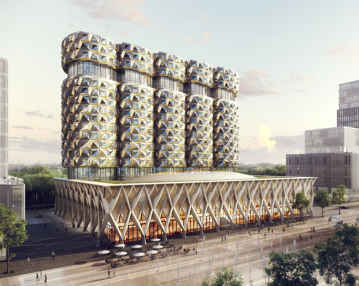 The new structure will consist of five connected residential towers sat atop a three-storey public plinth building / Neutelings Riedijk Architects