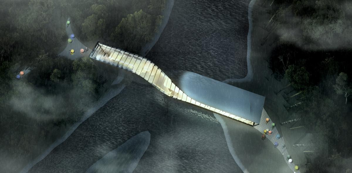 The 1,400sq m (15,000sq ft) museum will be the new centrepoint of the existing Kistefos Sculpture Park / Bjarke Ingels Group