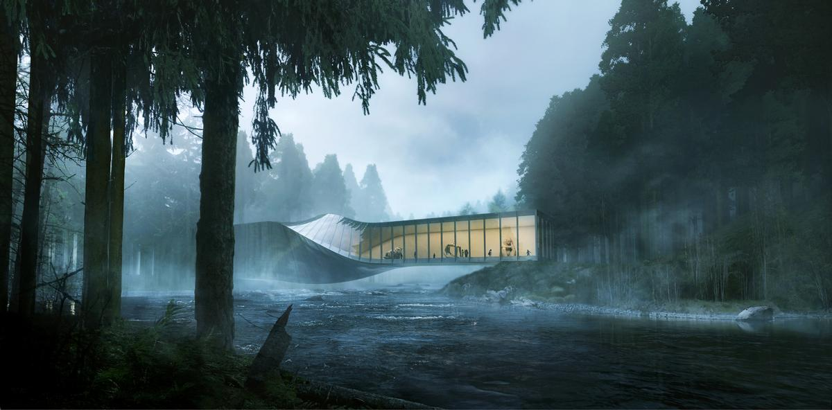 The Kistefos Museum will twist across the River Randselva / Bjarke Ingels Group