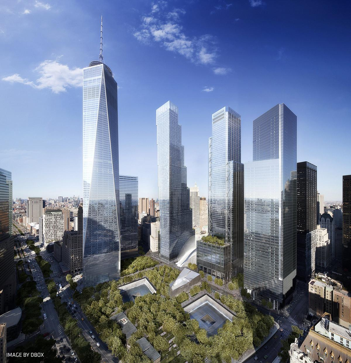 Another view sees 2 WTC align neatly with its neighbours, One WTC, 3 WTC and 4 WTC / DBOX/BIG