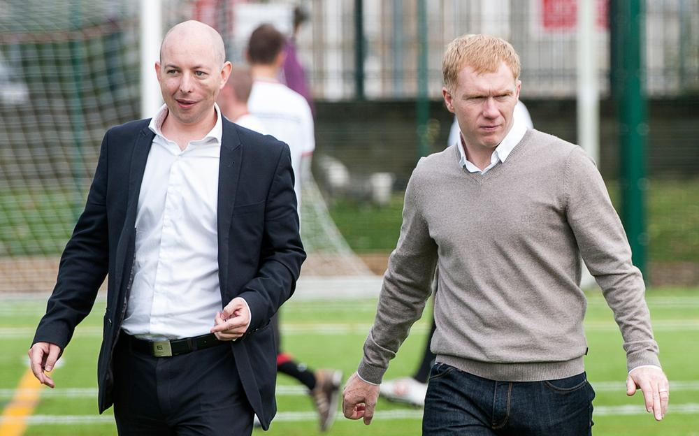 The Foundation's Rory Carroll (left) with Man Utd legend Paul Scholes