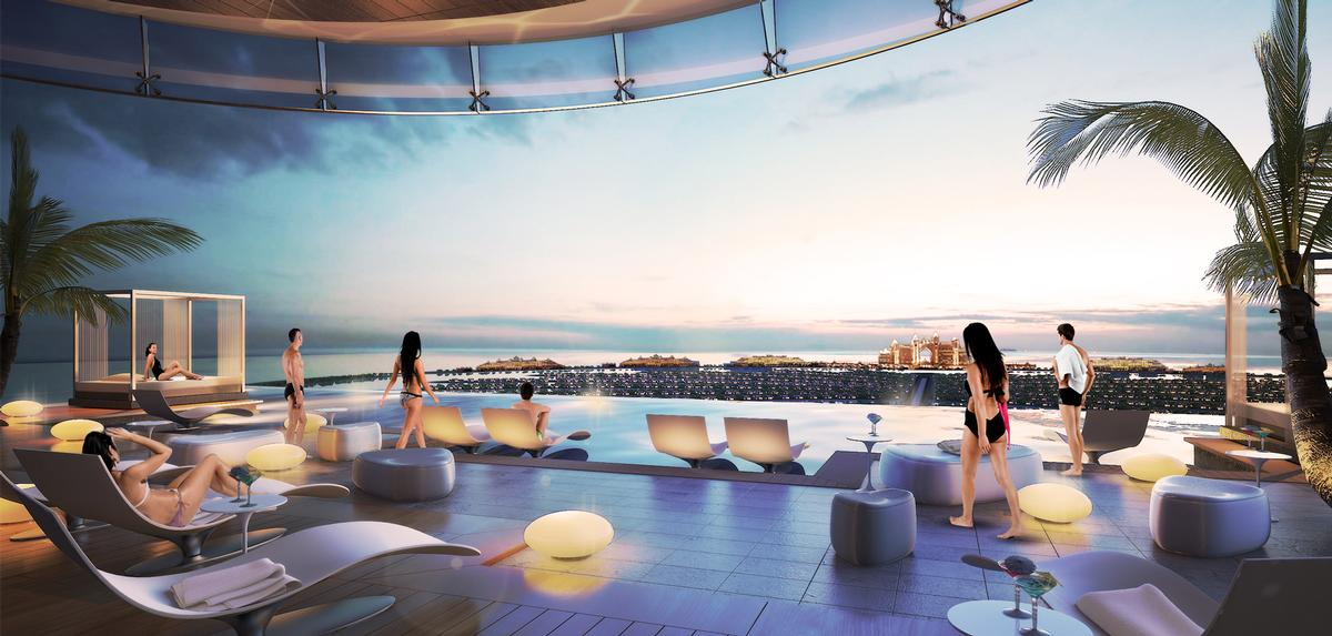 The rooftop infinity pool will look out towards the for Pool design dubai