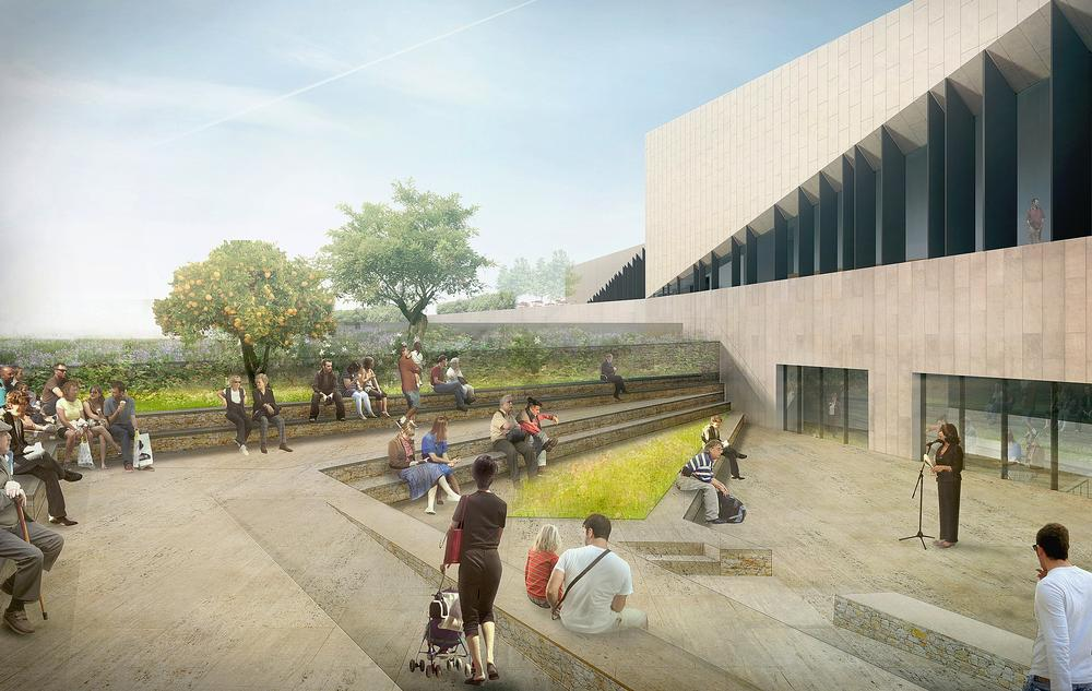 The area outside the building can be used as a performance space for planned and impromptu events