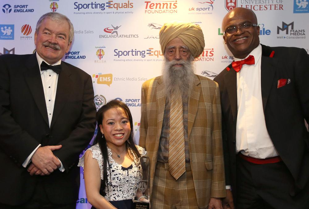 Rod Carr (left) with para-badminton player Rachel Choong