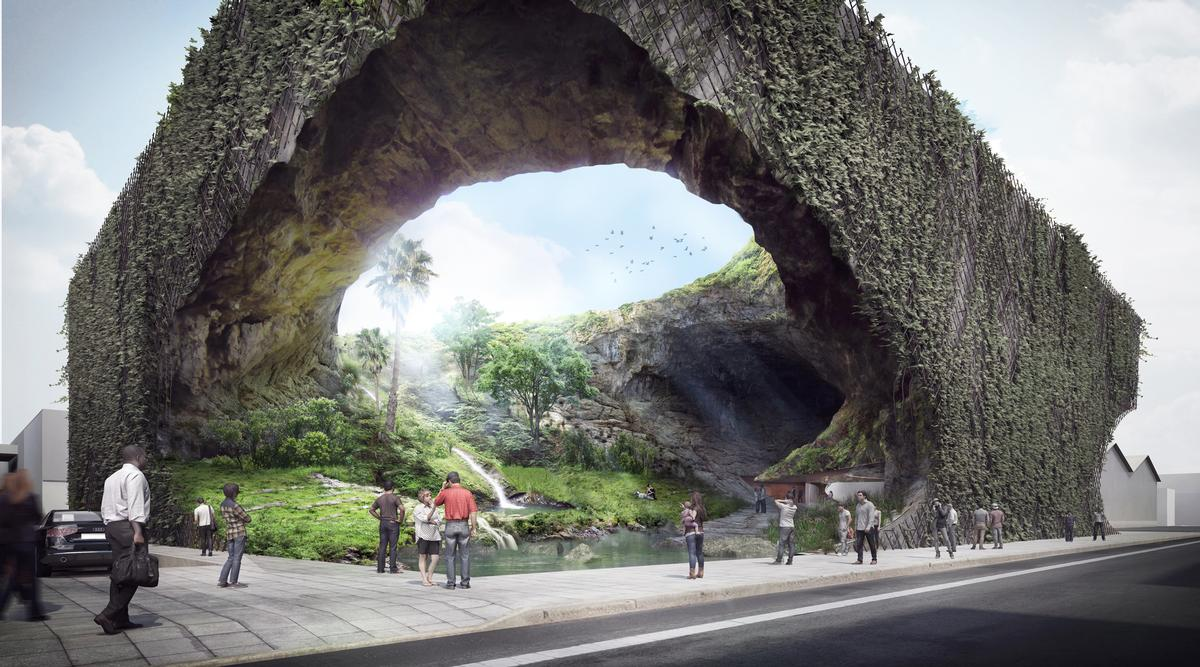 Once inside this large void they will be able to walk towards a central atrium through a wild environment of jungle, streams, ravines, ponds and waterfalls / Kengo Kuma