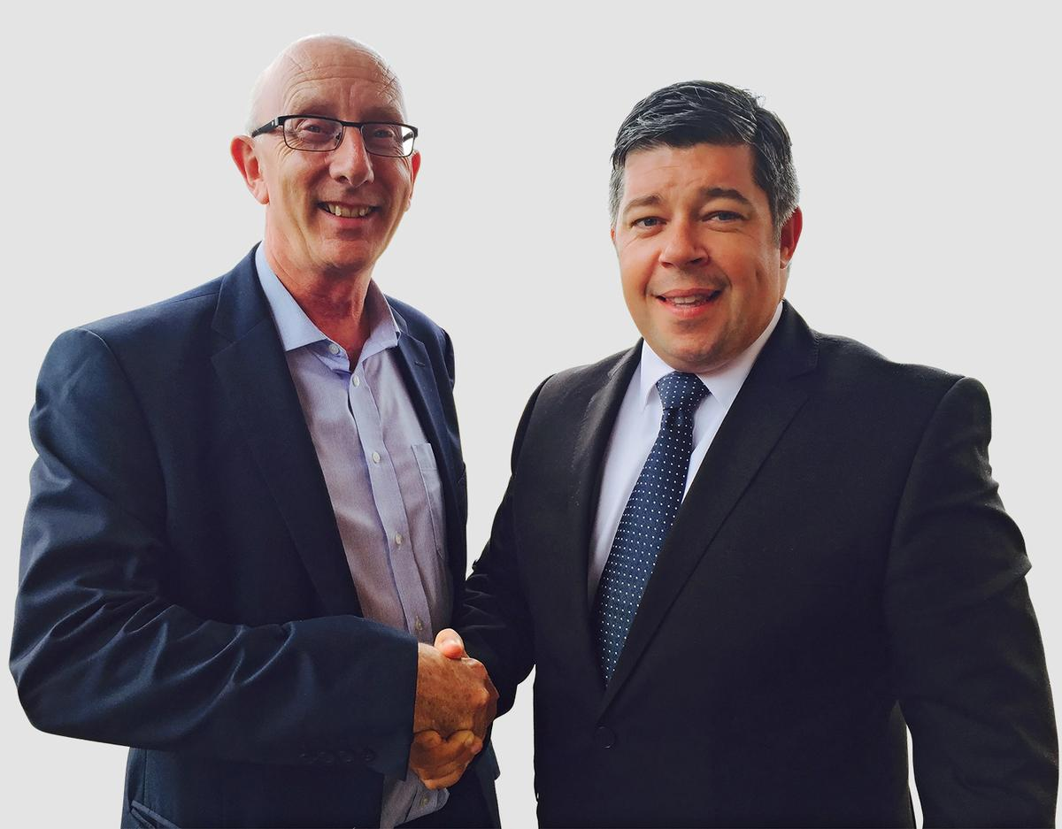 Andrew Campbell (left) head of the University's school of Tourism and Hospitality with Michael Downie, general manager of the Swansea Marriott