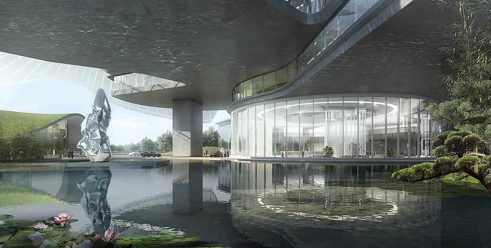The Xinhee Design Center in Xiamen has a first floor garden with water features open to the public. This also provides ventilation for the building