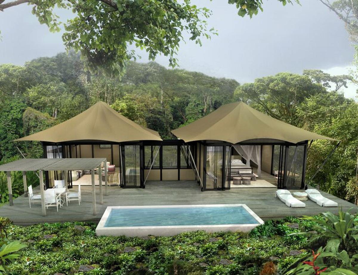 Each tent will sit on its own platform, furnished with an outdoor living area and a plunge pool filled from the nearby hot springs / Nayara