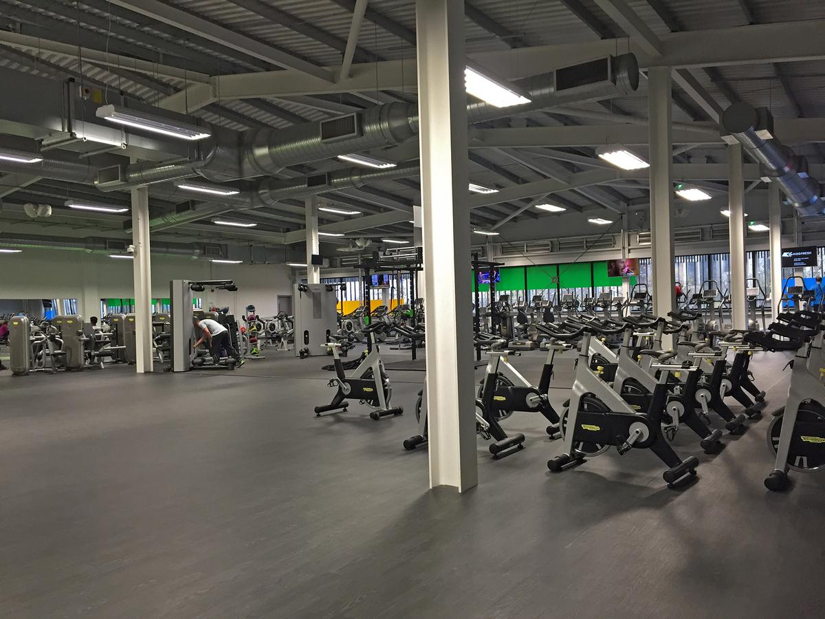 The fitness facility features 130 Technogym stations