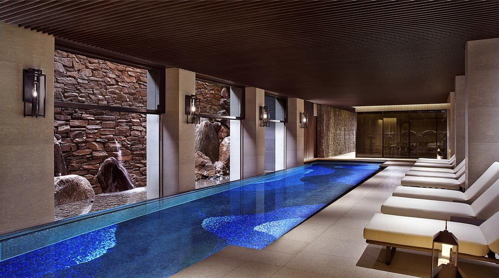 The Ritz Carlton's underground floors have terraced gardens which bring in soft light