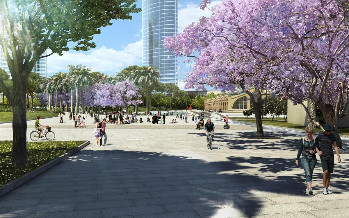 Pavilions linking the gardens will also be lined with trees and plants / Gustafson Porter