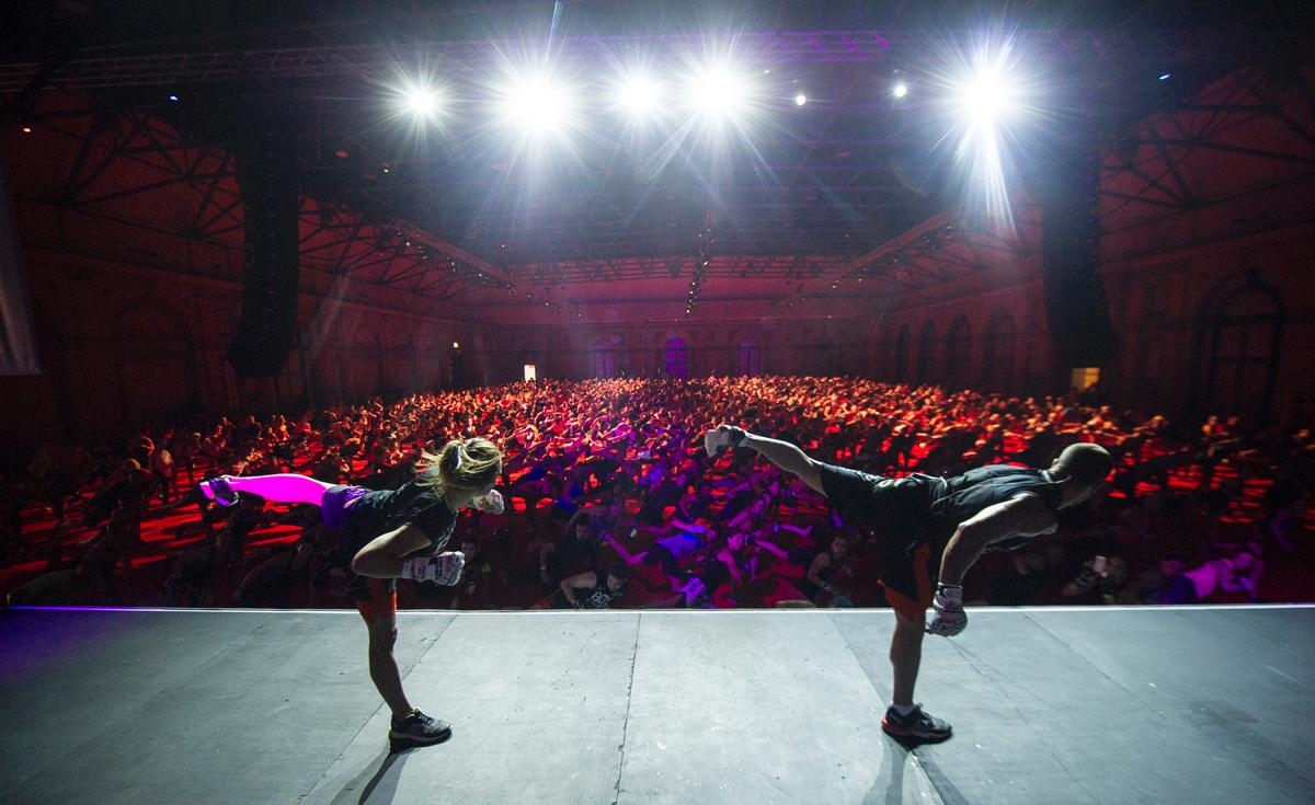 The tour will see crowds of up to 6,000 people working out in unison at iconic venues across the world