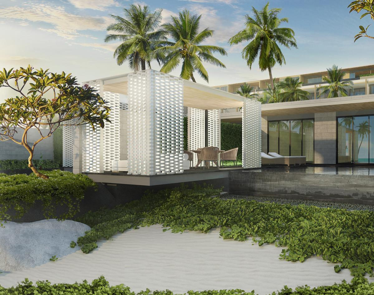 Sky villas feature outdoor terraces, and most have private swimming pools / Rosewood Hotels